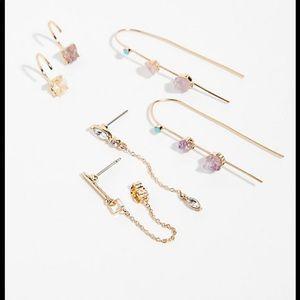 NWT Free People Raw Stone Earring Set
